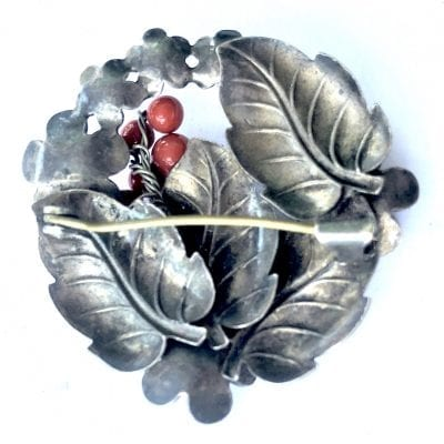 Neiger Silver Coral Brooch