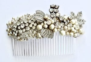 Vintage Crystal and pearl hair comb